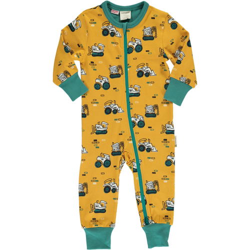 Maxomorra Brick Builders Print Long Sleeve Zip Rompersuit