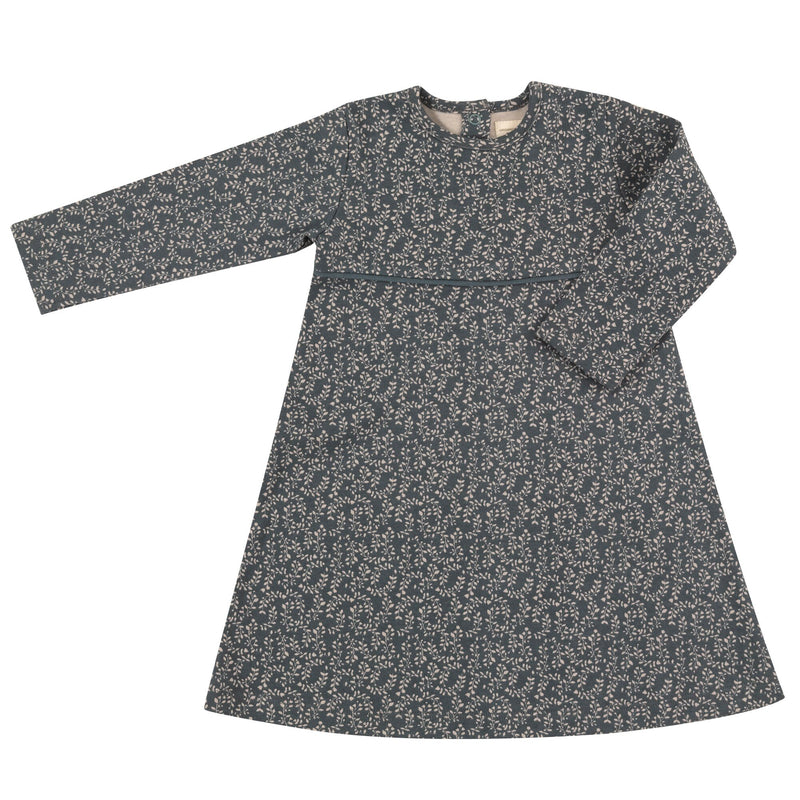 Organic Cotton Long Sleeve Skater Dress - Teal Leaf Print