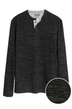 Soft Brushed Slub Knit Henley - Black