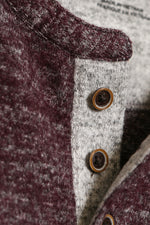 Soft Brushed Slub Knit Henley - Burgundy