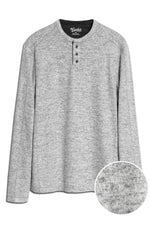 Soft Brushed Slub Knit Henley - Grey