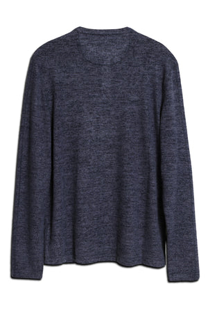 Soft Brushed Slub Knit Henley - Navy
