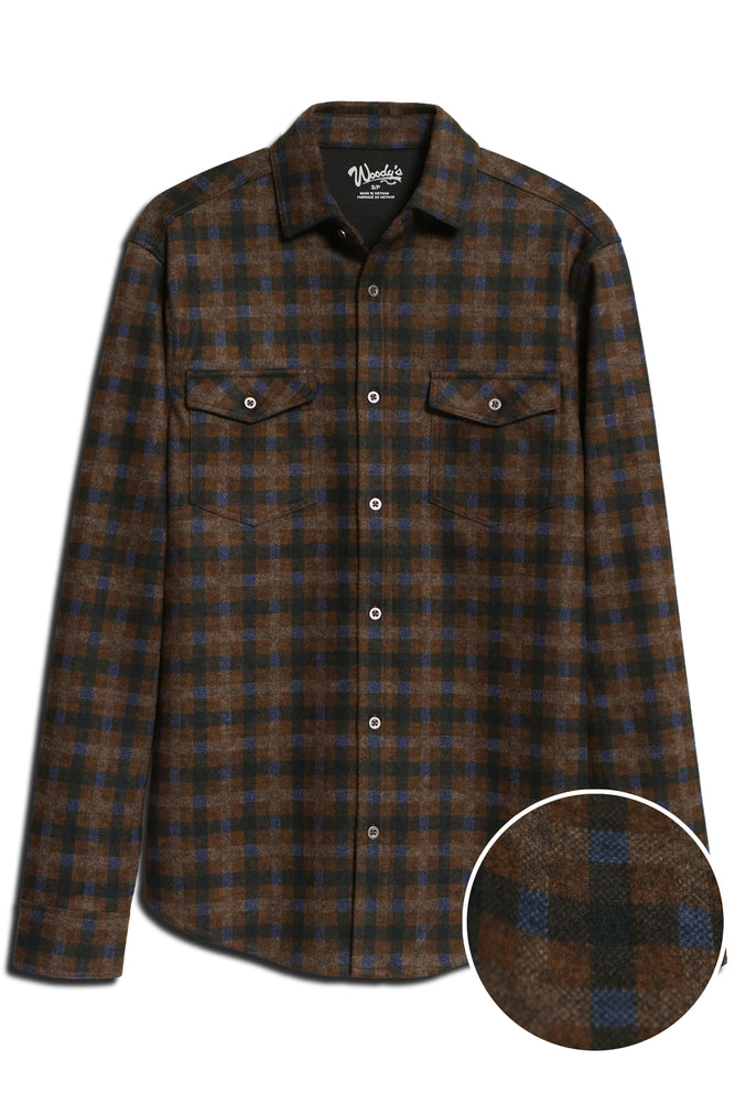 Long Sleeve Button-Down Flannel Knit Shirt _ Brown