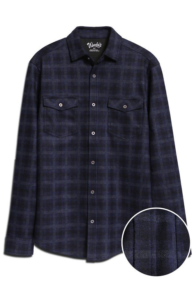 Long Sleeve Button-Down Flannel Knit Shirt _ Navy