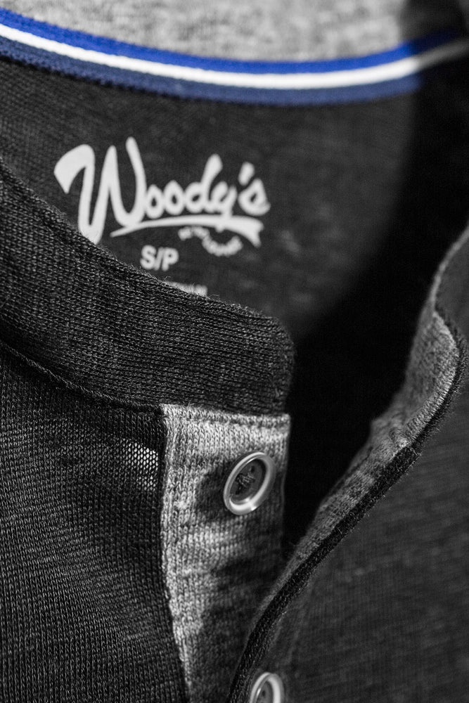 Premium Menswear : Lightweight Linen Henley Short Sleeve Shirt - Black - Knitwear - Woody's Retro Lounge