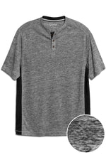 Premium Menswear : Lightweight Linen Henley Short Sleeve Shirt - Charcoal - Knitwear - Woody's Retro Lounge