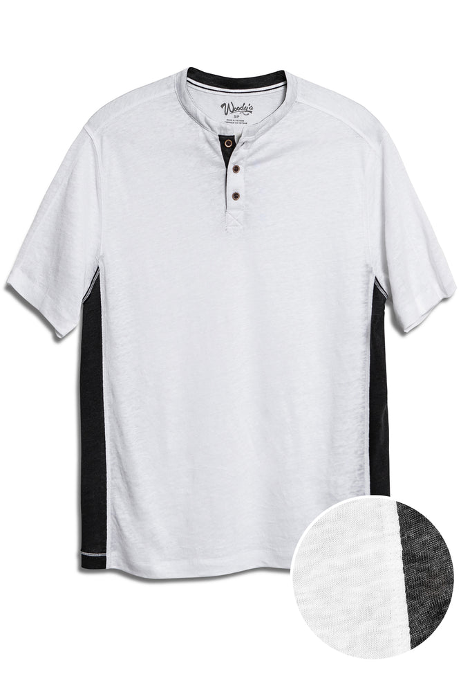 Premium Menswear : Lightweight Linen Henley Short Sleeve Shirt - White - Knitwear - Woody's Retro Lounge