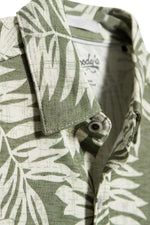 Premium Menswear : Hibiscus Flower Print Modal Camp Shirt - Olive - Knitwear - Woody's Retro Lounge