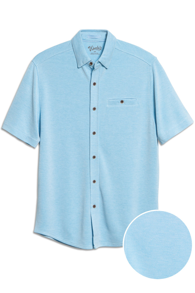 Premium Menswear : Modal Camp Shirt - Aqua Chest Pocket Button Down - Knitwear - Woody's Retro Lounge