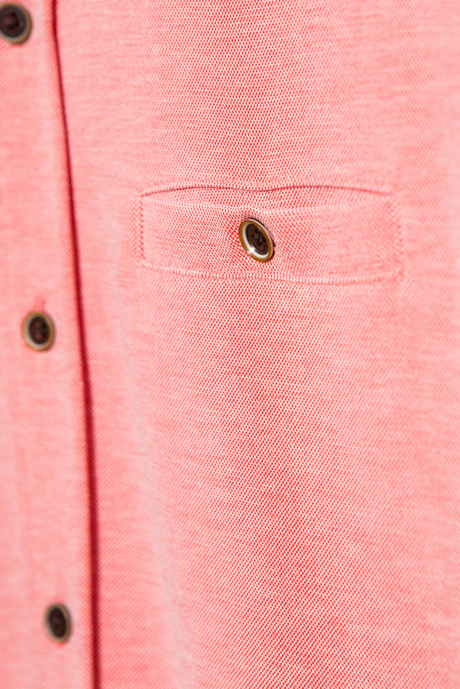Premium Menswear : Modal Camp Shirt - Coral Chest Pocket Button Down - Knitwear - Woody's Retro Lounge
