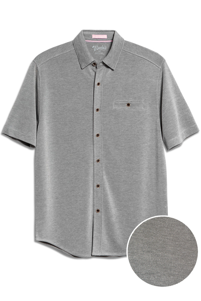 Premium Menswear : Modal Camp Shirt - Black Chest Pocket Button Down - Knitwear - Woody's Retro Lounge