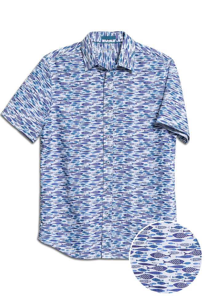 Premium Menswear : Fly Fish in Blues Hawaiian Modal Short-Sleeve Shirt - Shirts - Woody's Retro Lounge