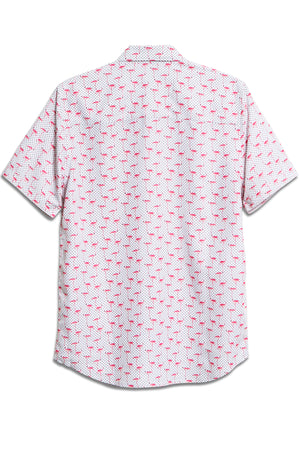 Premium Menswear : Flamingo Polka-Dot Print Hawaiian Shirt - Shirts - Woody's Retro Lounge