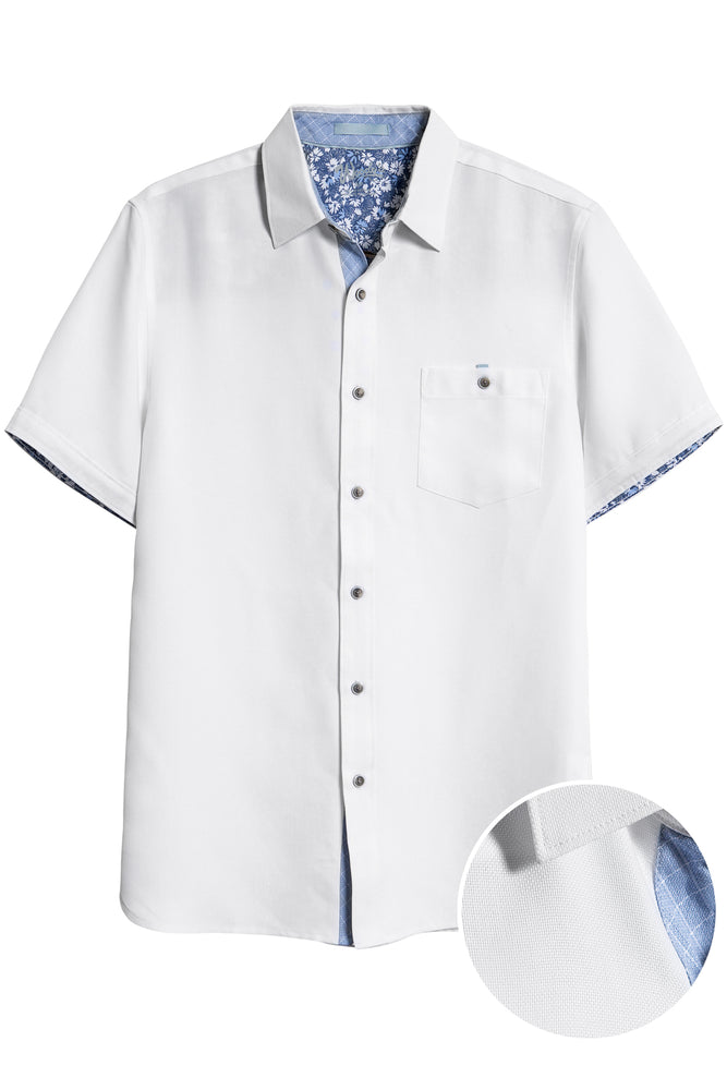 Premium Menswear : Button Front Short Sleeve White Shirt - Shirts - Woody's Retro Lounge