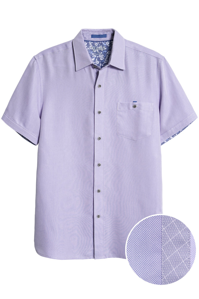 Premium Menswear : Button Front Short Sleeve Shirt - Sky - Shirts - Woody's Retro Lounge