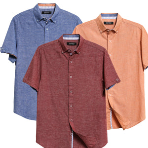 Men's Linen Casual Short Sleeve Shirts - Red