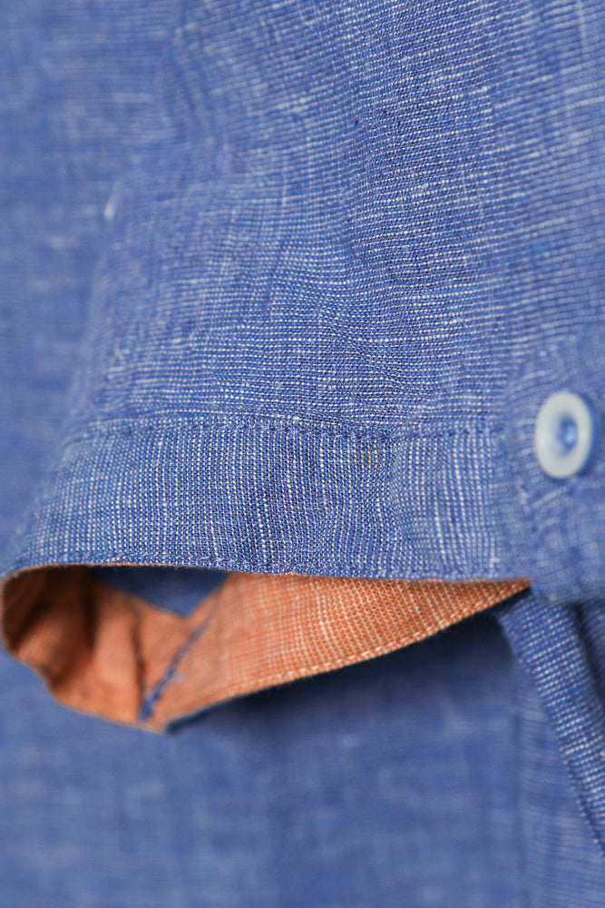 Men's Linen Casual Short Sleeve Shirts - Blue