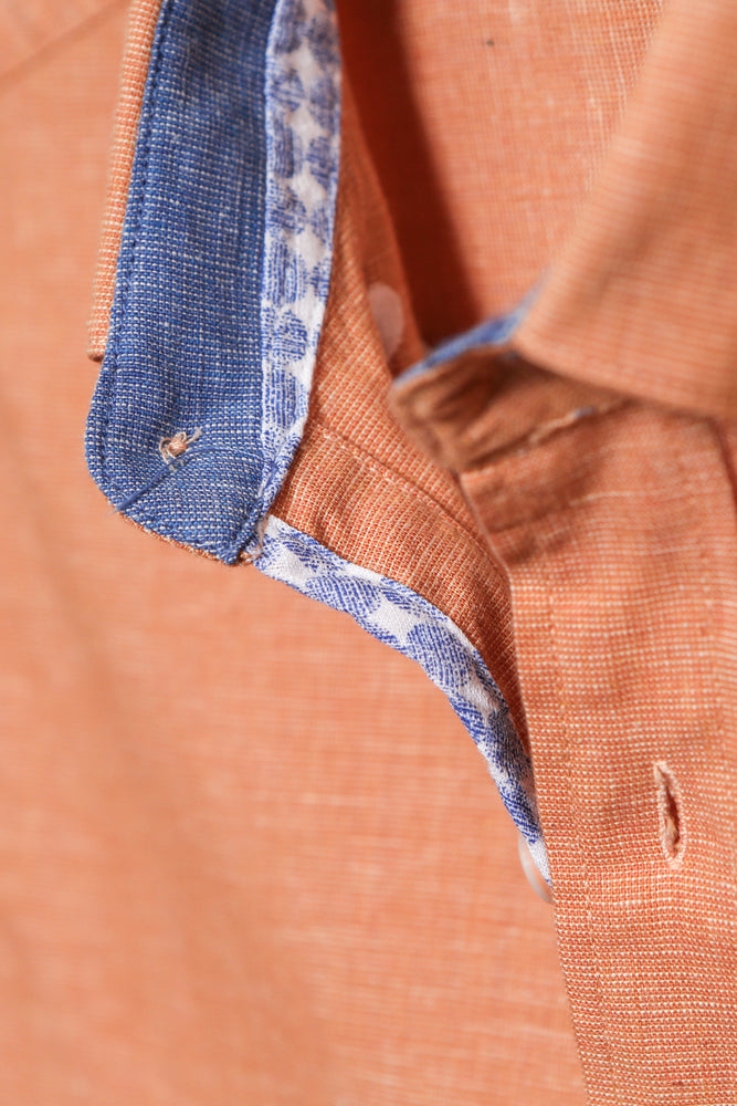 Men's Linen Casual Short Sleeve Shirts - Orange