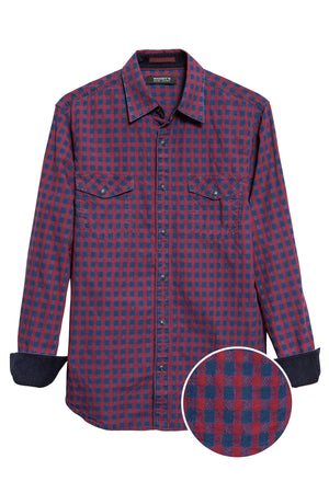 Premium Menswear : Plano Gingham Casual Shirt - Shirts - Woody's Retro Lounge