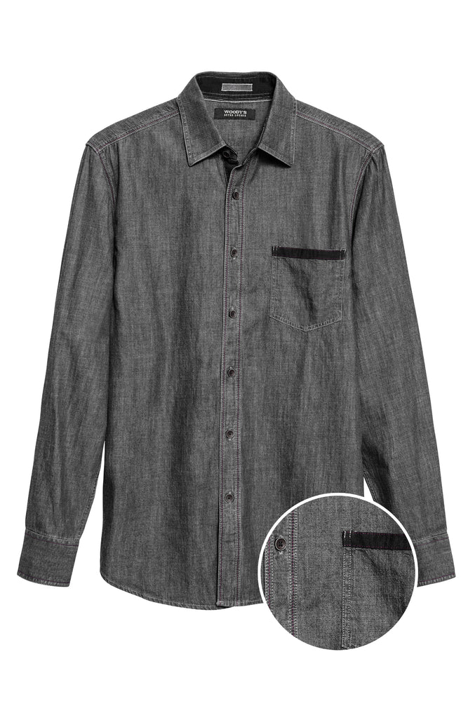 Premium Menswear : Solid Black Denim Shirt - Shirts - Woody's Retro Lounge