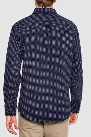 Premium Menswear : Freer Micro Cross Long Sleeve Shirt - Shirts - Woody's Retro Lounge