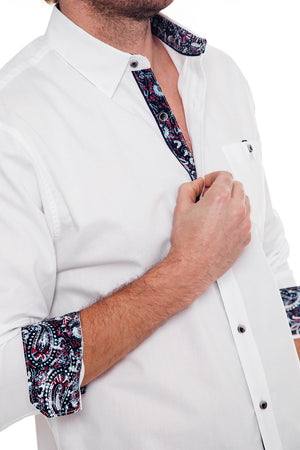 Premium Menswear : Smailey Textured Long Sleeve Shirt - Shirts - Woody's Retro Lounge