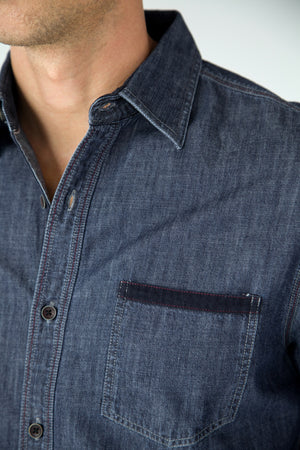 Premium Menswear : Solid Indigo Denim Shirt - Shirts - Woody's Retro Lounge