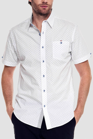 Premium Menswear : Krum Polka Dot Short Sleeve Shirt - Slim Fit - Shirts - Woody's Retro Lounge