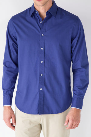 Premium Menswear : Hobbs Polka Dot Royal Blue Shirt - Shirts - Woody's Retro Lounge