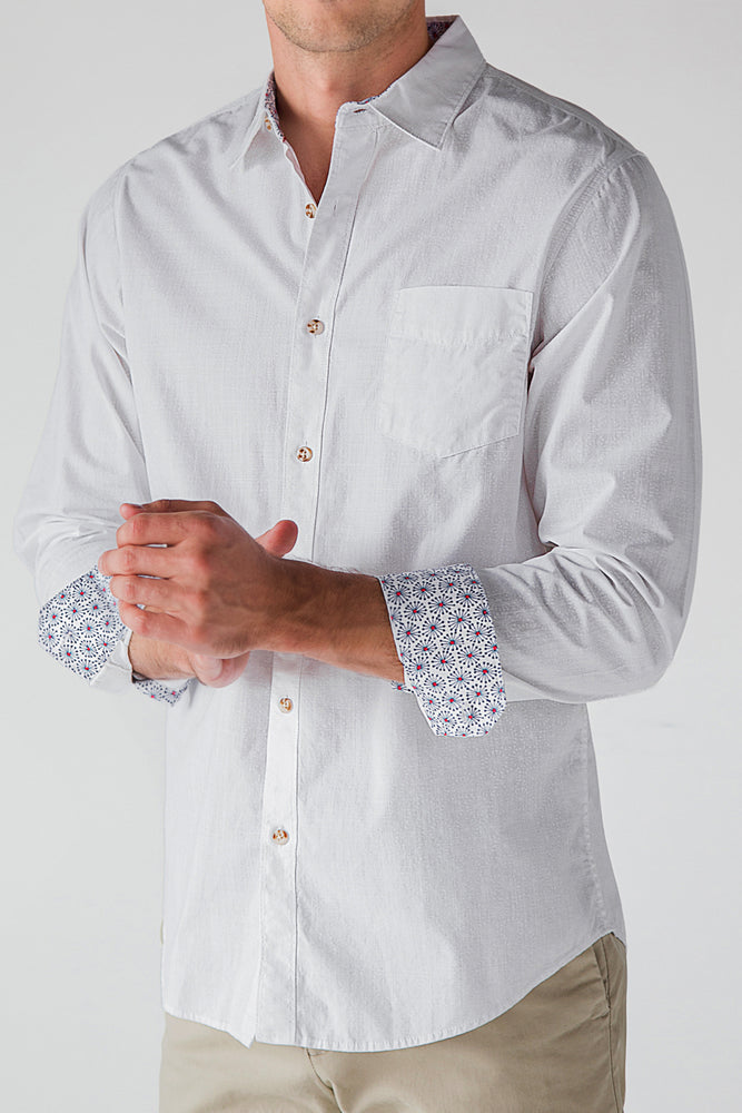 Premium Menswear : Roxton Floral Long Sleeve White Shirt - Shirts - Woody's Retro Lounge