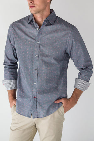 Premium Menswear : Dawson Micro Geo Long Sleeve Shirt - Shirts - Woody's Retro Lounge