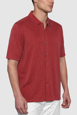 Premium Menswear : Vintage Slub Camp Shirt - Dark Red - Knitwear - Woody's Retro Lounge