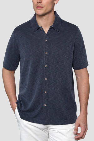 Premium Menswear : Vintage Slub Camp Shirt - Navy - Knitwear - Woody's Retro Lounge