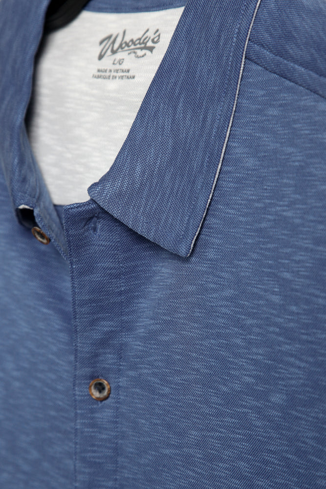 Premium Menswear : Vintage Slub Camp Shirt - Royal - Knitwear - Woody's Retro Lounge