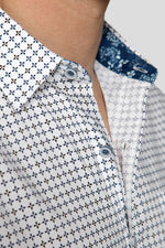 Premium Menswear : Quatrefoil Pattern Short Sleeve Shirt - Slim Fit - Shirts - Woody's Retro Lounge