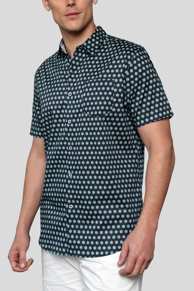 Premium Menswear : Lime Polka Dot Short-Sleeve Shirt - Slim Fit - Shirts - Woody's Retro Lounge
