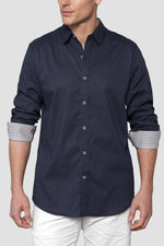 Premium Menswear : Micro Geo Long-Sleeve Casual Shirt - Shirts - Woody's Retro Lounge
