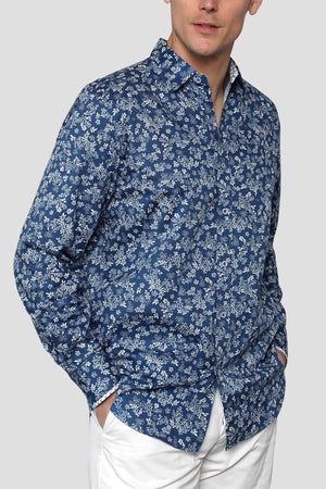 Premium Menswear : Blue Floral Long-Sleeve Casual Shirt - Shirts - Woody's Retro Lounge