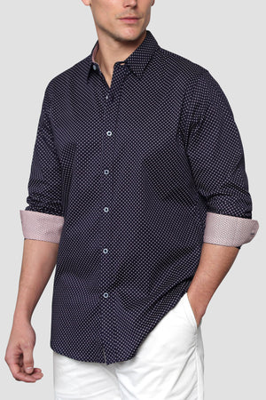 Premium Menswear : Micro Cross Long Sleeve Casual Shirt - Shirts - Woody's Retro Lounge