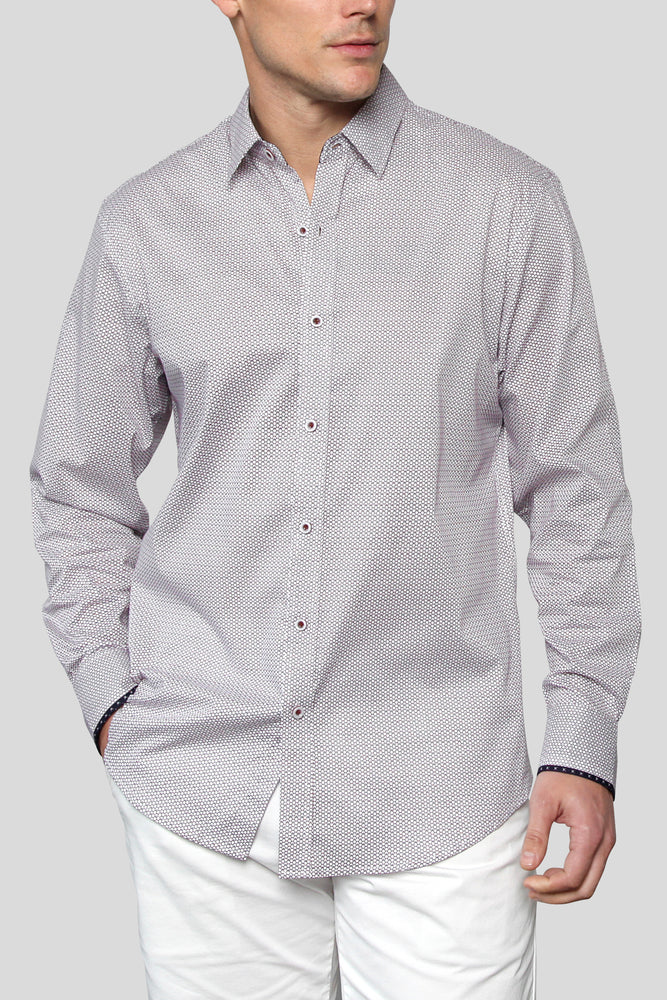 Premium Menswear : Micro Hexagon Printed Long-Sleeve Casual Shirt - Shirts - Woody's Retro Lounge