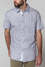 Premium Menswear : Mont Abstract Short Sleeve Shirt - Slim Fit - Shirts - Woody's Retro Lounge