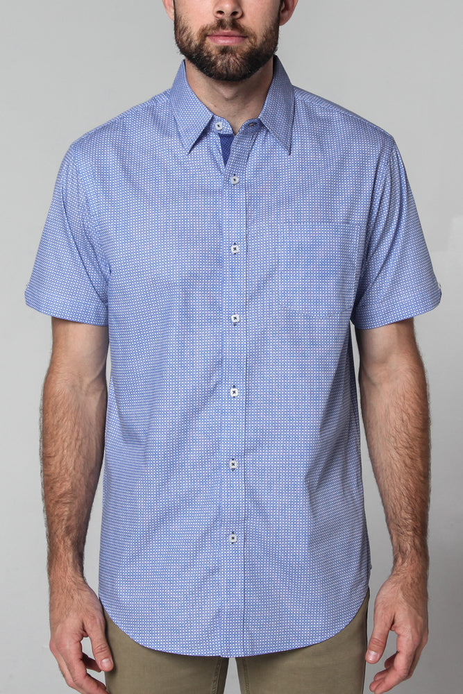 Premium Menswear : Daffan Micro Geo Print Short Sleeve Shirt - Slim Fit - Shirts - Woody's Retro Lounge
