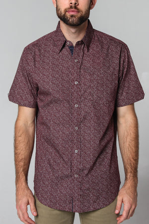 Premium Menswear : Spicewood Micro Floral Short Sleeve Shirt - Slim Fit - Shirts - Woody's Retro Lounge