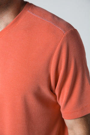 Premium Menswear : Modal V-Neck T-Shirt Coral - T-Shirts - Woody's Retro Lounge