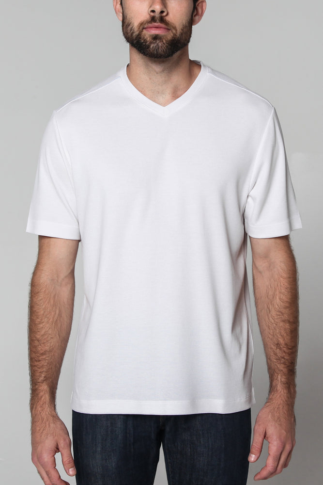 Premium Menswear : Modal V-Neck T-Shirt White - T-Shirts - Woody's Retro Lounge