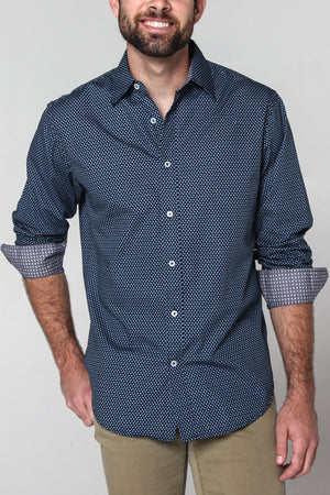 Premium Menswear : Eola Micro Floral Casual Shirt - Shirts - Woody's Retro Lounge