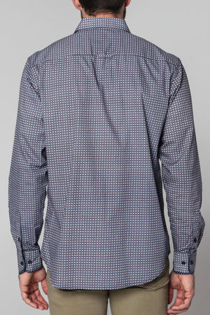 Premium Menswear : Mereta Geometric Print Long Sleeve Shirt - Shirts - Woody's Retro Lounge