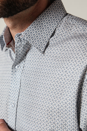 Premium Menswear : Henly Micro Circle Shirt - Shirts - Woody's Retro Lounge