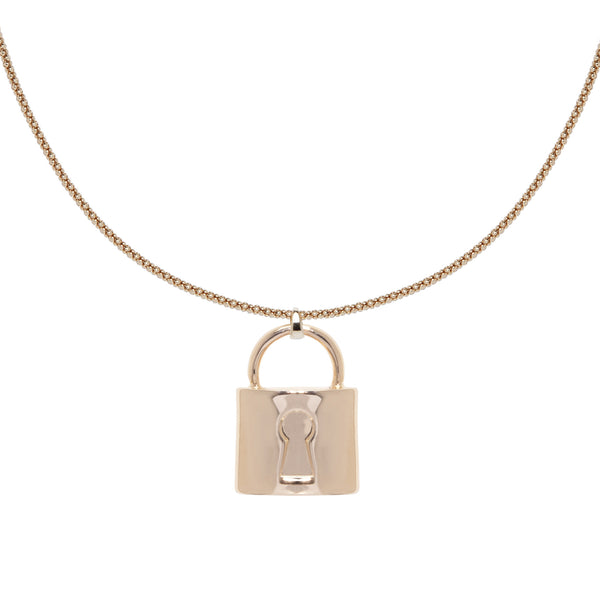 Classic Lock Charm Necklace - Gold