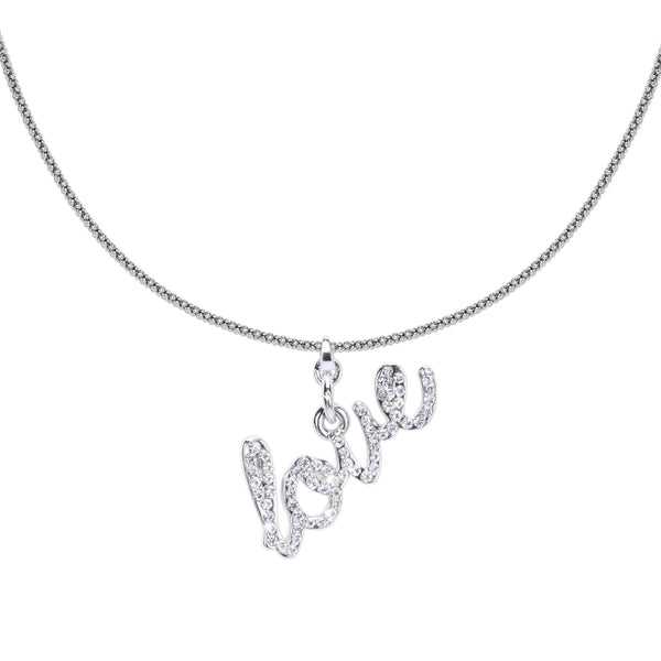 Love Charm Necklace - Silver